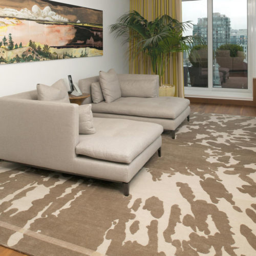 Hand Knotted Silk & Wool Tortoise Rug Install